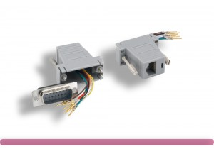 Gray Color DB15 Male to RJ-45 Modular Adapter