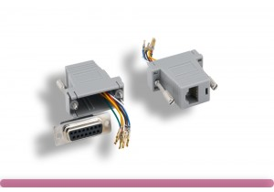 GRAY Color DB15 Female to RJ-45 Modular Adaptor
