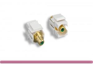Green RCA F/F Recessed Keystone Insert Module