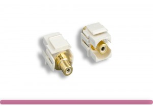 White RCA F/F Recessed Keystone Insert Module