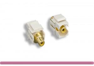 Yellow RCA F/F Recessed Keystone Insert Module