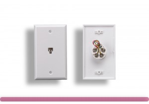 1 Port Wall Plate with 6P4C Jack, White Color