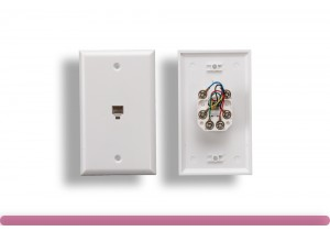 1 Port Wall Plate with 6P6C Jack, White Color
