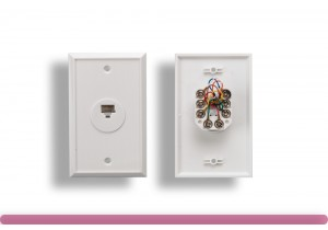 1 Port Wall Plate with 8P8C Jack, White Color