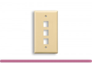 3-Port Wall Plate for Keystone Insert Ivory Color