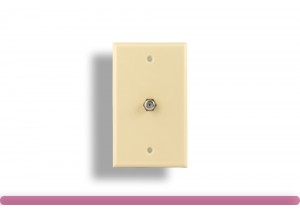1 Port Wall Plate with F Connector Ivory Color