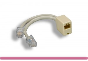 RJ-45 M x 2 to F, Cat. 5e T-Adapter
