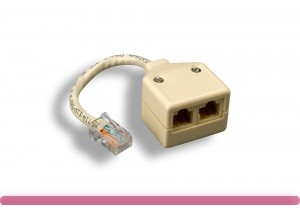RJ-45 M to F x 2, Cat. 5e T-Adapter