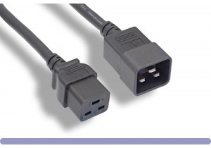 12 AWG Black Color C20 to C19 Universal Jumper Power Cord
